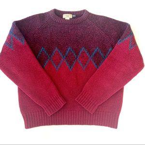 Vintage Men's Gap Knit Wool Maroon Sweater M